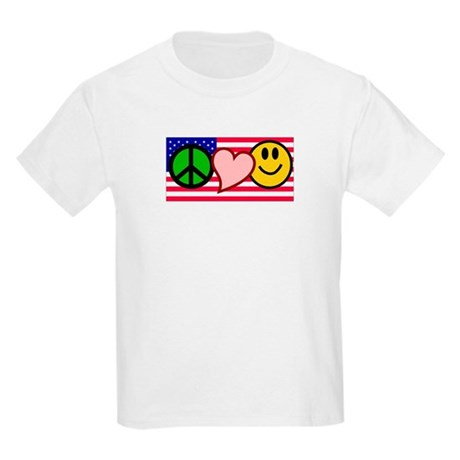 Peace Love Smile US Flag Kids Light T-Shirt