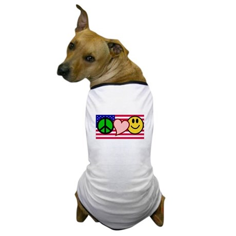 Peace Love Smile US Flag Dog T-Shirt