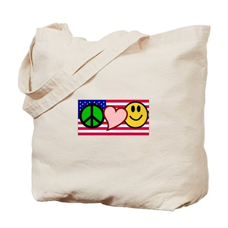 Peace Love Smile US Flag Tote Bag