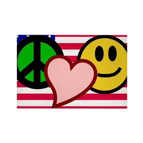 Peace Love Smile Rectangle Magnet (100 pack)
