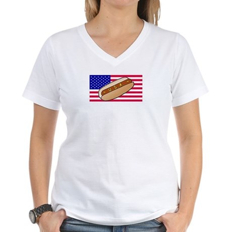 USA Hotdog Women's V-Neck T-Shirt