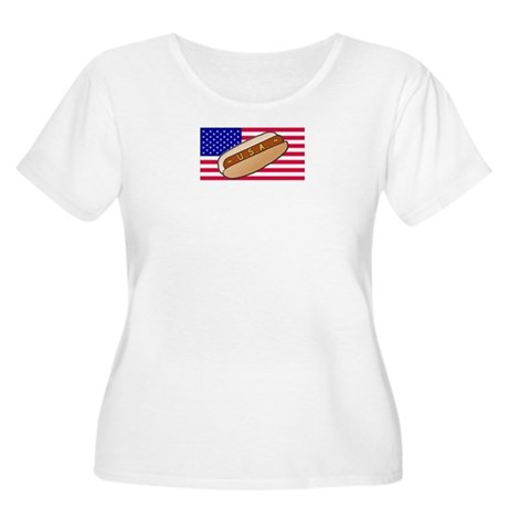 USA Hotdog Women's Plus Size Scoop Neck T-Shirt