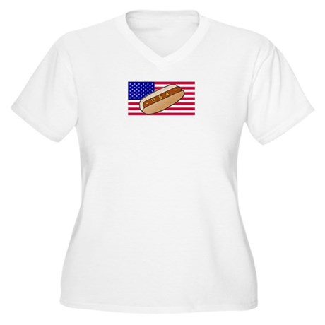 USA Hotdog Women's Plus Size V-Neck T-Shirt