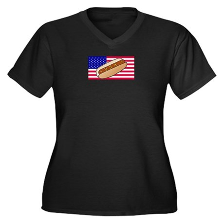 USA Hotdog Women's Plus Size V-Neck Dark T-Shirt