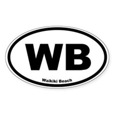 Waikiki Beach Oval Decal