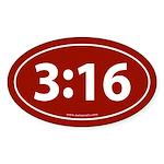 John 3:16 Euro Bumper Oval Sticker -Red