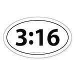 John 3:16 Euro Bumper Oval Sticker -White