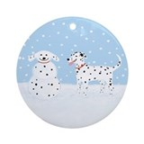Dalmatian Snow Dog Ornament (Round)