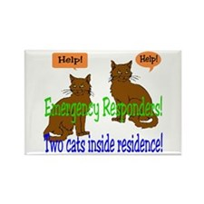 Two Cat Alert Rectangle Magnet