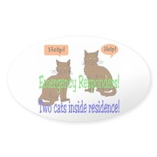 Two Cat Alert Oval Sticker (50 pk)
