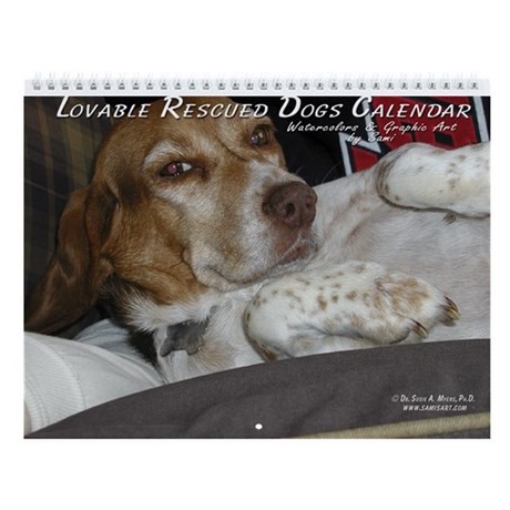 Lovable Rescued Dogs by Sami Wall Calendar