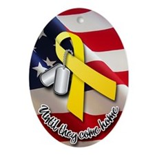 Yellow Ribbon Oval Ornament