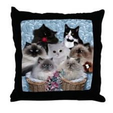 7 Cats Throw Pillow