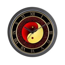 Yin-Yang (red/gold) Wall Clock