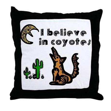 Believe in Coyotes Throw Pillow