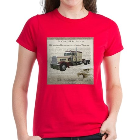 Democracy Starts Here Truckin Women's Dark T-Shirt