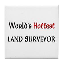 World's Hottest Land Surveyor Tile Coaster
