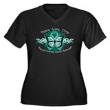 Ovarian Cancer Butterfly Women's Plus Size V-Neck