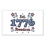 1776 Freedom Americana Rectangle Sticker 10 pk)