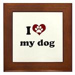 i heart my dog Framed Tile