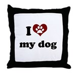 i heart my dog Throw Pillow