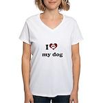 i heart my dog Women's V-Neck T-Shirt