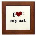 i heart my cat Framed Tile