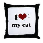 i heart my cat Throw Pillow