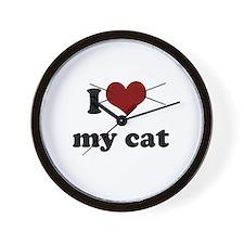 i heart my cat Wall Clock