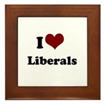 i heart liberals Framed Tile