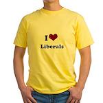 i heart liberals Yellow T-Shirt