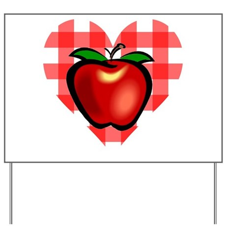 Checkered Tablecloth Apple He Yard Sign