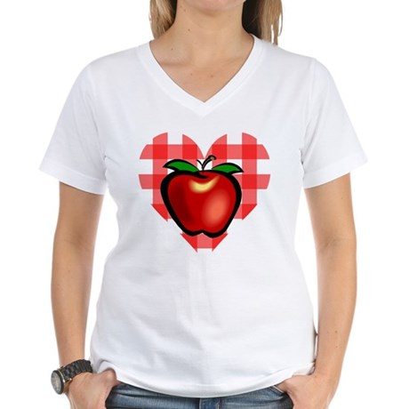 Checkered Tablecloth Apple He Women's V-Neck T-Shi