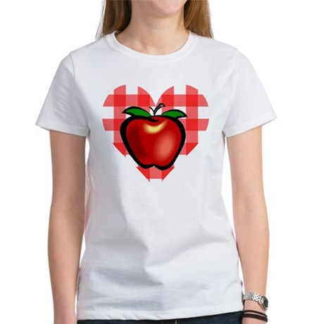 Checkered Tablecloth Apple He Women's T-Shirt