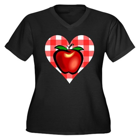 Checkered Tablecloth Apple He Women's Plus Size V-