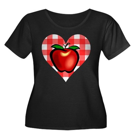 Checkered Tablecloth Apple He Women's Plus Size Sc