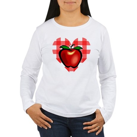 Checkered Tablecloth Apple He Women's Long Sleeve