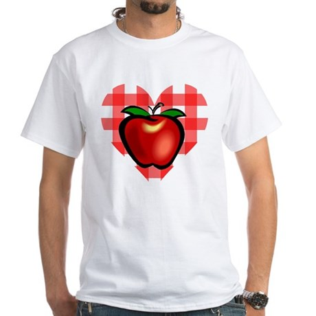 Checkered Tablecloth Apple He White T-Shirt