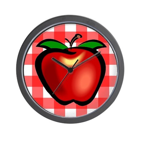 Checkered Tablecloth Apple He Wall Clock