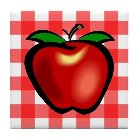 Checkered Tablecloth Apple He Tile Coaster
