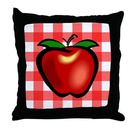 Checkered Tablecloth Apple He Throw Pillow