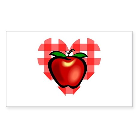 Checkered Tablecloth Apple He Rectangle Sticker