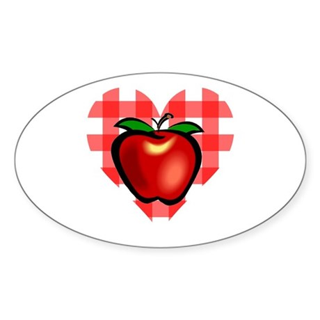 Checkered Tablecloth Apple He Oval Sticker