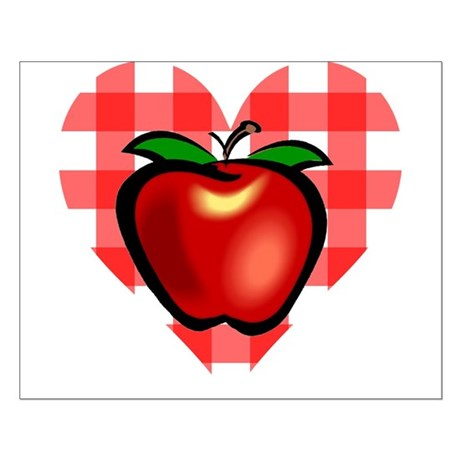 Checkered Tablecloth Apple He Small Poster