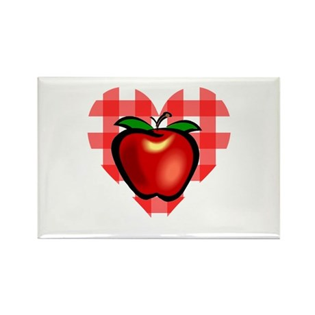 Checkered Tablecloth Apple He Rectangle Magnet (10