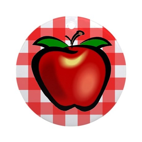Checkered Tablecloth Apple He Ornament (Round)