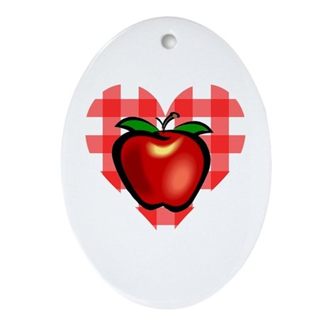 Checkered Tablecloth Apple He Oval Ornament