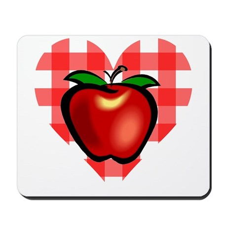 Checkered Tablecloth Apple He Mousepad