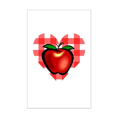 Checkered Tablecloth Apple He Mini Poster Print