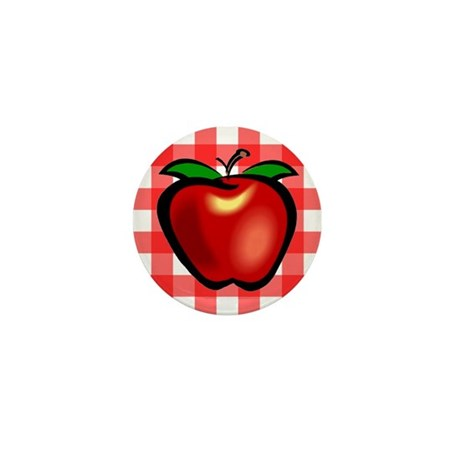 Checkered Tablecloth Apple He Mini Button